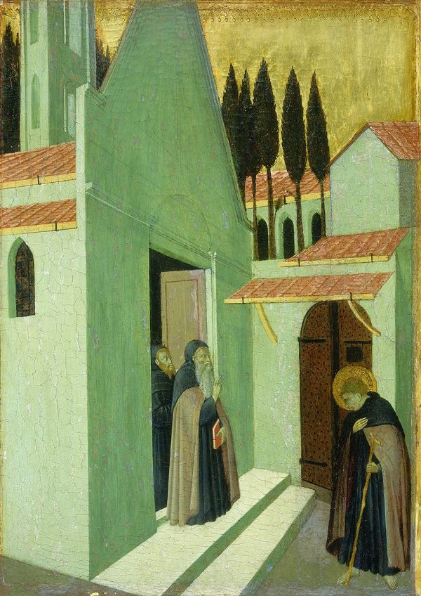 Pietro, Sano di: Saint Anthony Leaving His Monastery. Fine Art Print/Poster. Sizes: A4/A3/A2/A1 (004168)